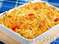 Фарфале паста с чери домати, царевица и тиквички на фурна